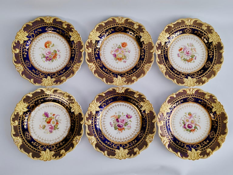 Ridgway Full Dessert Service, Cobalt Blue, Gilt and Flowers, Regency, circa 1825 For Sale 10