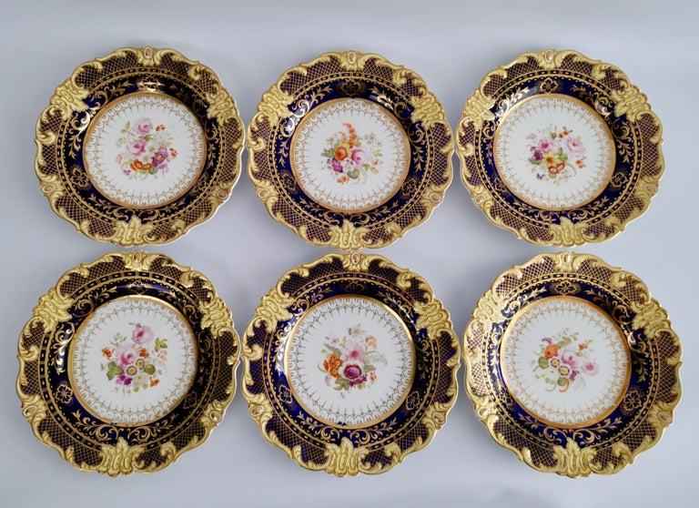 Ridgway Full Dessert Service, Cobalt Blue, Gilt and Flowers, Regency, circa 1825 For Sale 12
