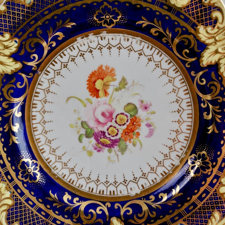 Ridgway Full Dessert Service, Cobalt Blue, Gilt and Flowers, Regency, circa 1825 In Good Condition For Sale In London, GB