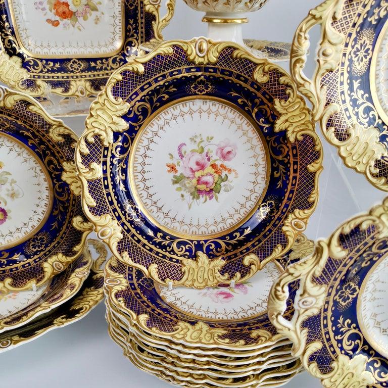Early 19th Century Ridgway Full Dessert Service, Cobalt Blue, Gilt and Flowers, Regency, circa 1825 For Sale