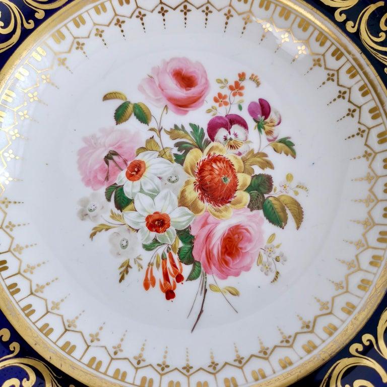 Ridgway Full Dessert Service, Cobalt Blue, Gilt and Flowers, Regency, circa 1825 For Sale 2
