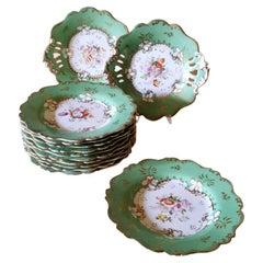 Ridgway J. Victorian Ironstone Ceramic Dessert Plate Set