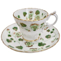 Ridgway Porcelain Coffee Cup, Green Floral Design, Victorian, circa 1840