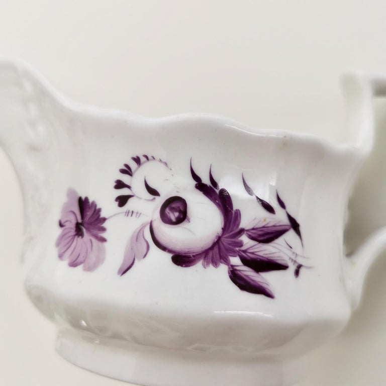 Hand-Painted Ridgway Porcelain Milk Jug, White with Purple Flowers, Regency, circa 1825 For Sale