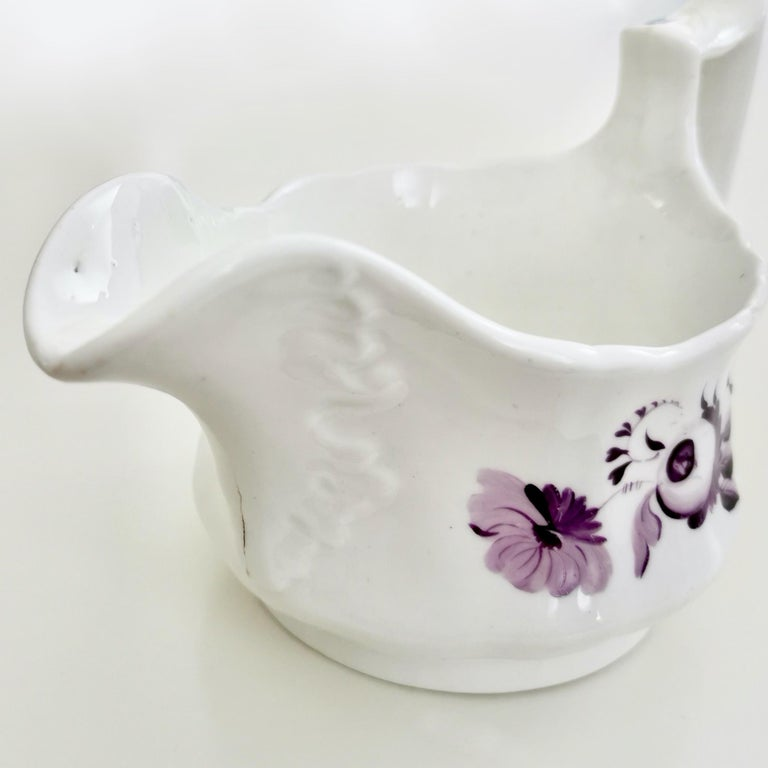 Ridgway Porcelain Milk Jug, White with Purple Flowers, Regency, circa 1825 For Sale 1