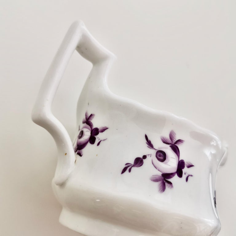 Ridgway Porcelain Milk Jug, White with Purple Flowers, Regency, circa 1825 For Sale 3