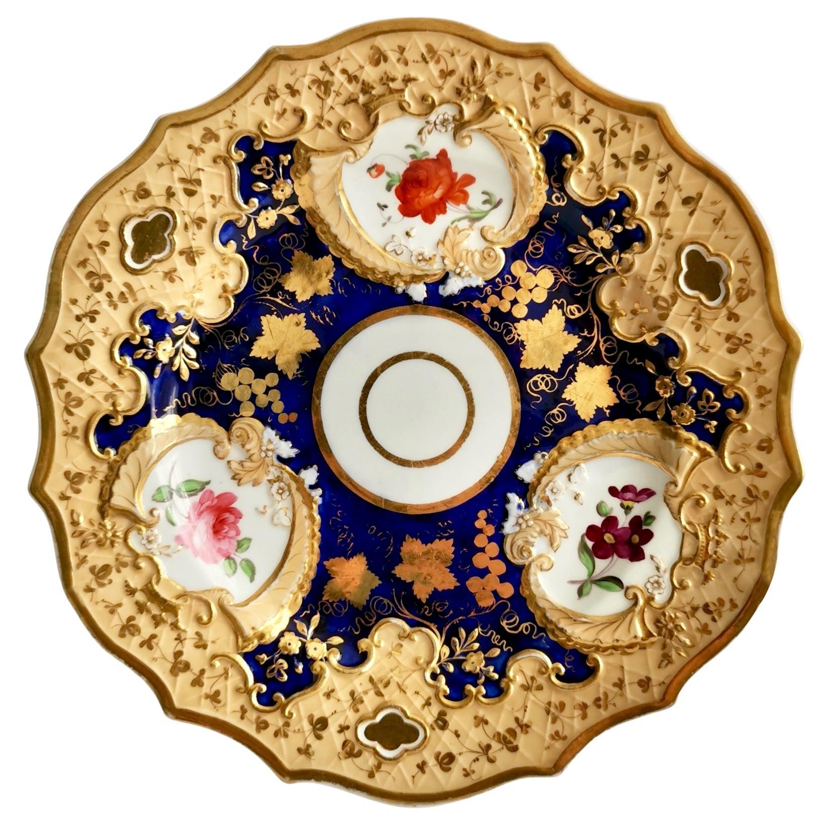 Ridgway Porcelain Plate, Cobalt Blue, Gilt and Flowers, Regency, circa 1820
