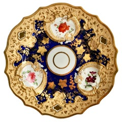 Ridgway Porcelain Plate, Cobalt Blue, Gilt and Flowers, Regency, circa 1820