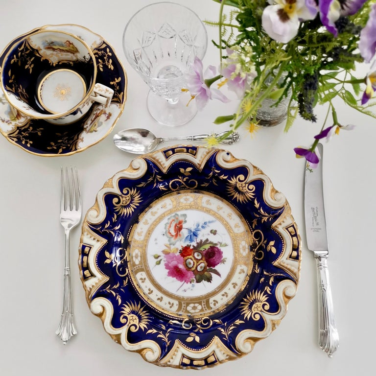 This is a beautiful dessert plate made by Ridgway, circa 1825, which is known as the Regency period. The plate would have formed part of a large dessert service.  Ridgway was one of the pioneers of English china production alongside other great