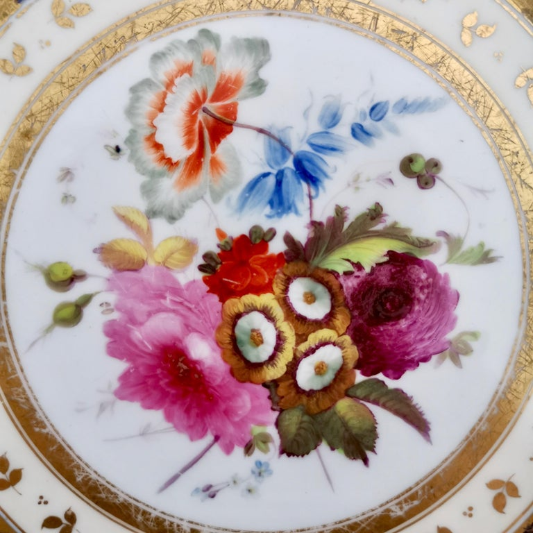 English Ridgway Porcelain Plate, Cobalt Blue, Gilt, Flowers, Moustache, Regency