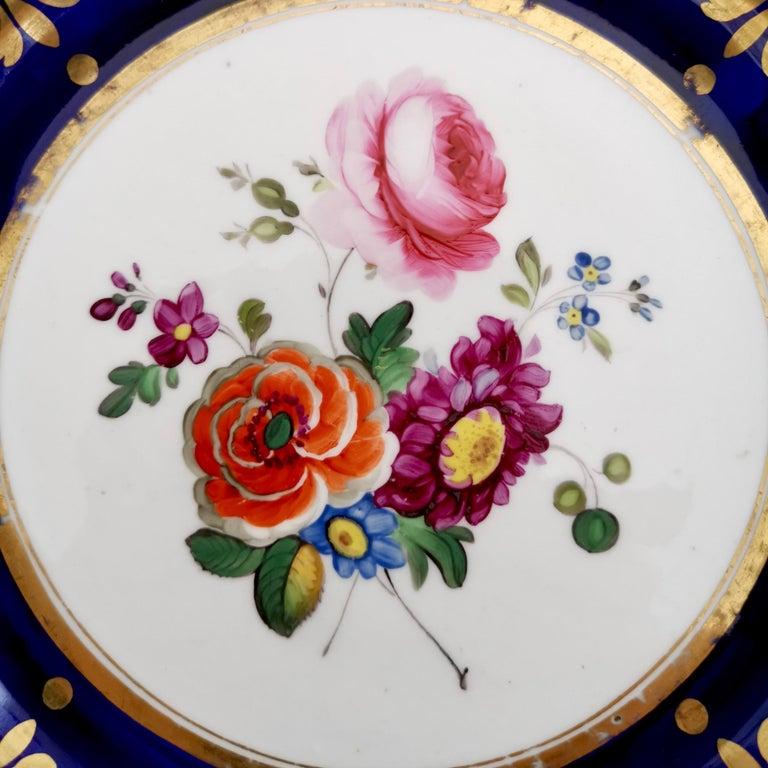 English Ridgway Porcelain Plate, Cobalt Blue, Gilt, Flowers, Moustache, Regency For Sale