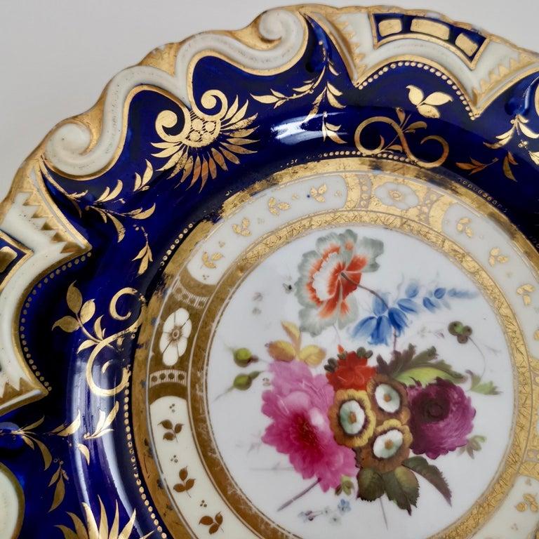 Hand-Painted Ridgway Porcelain Plate, Cobalt Blue, Gilt, Flowers, Moustache, Regency