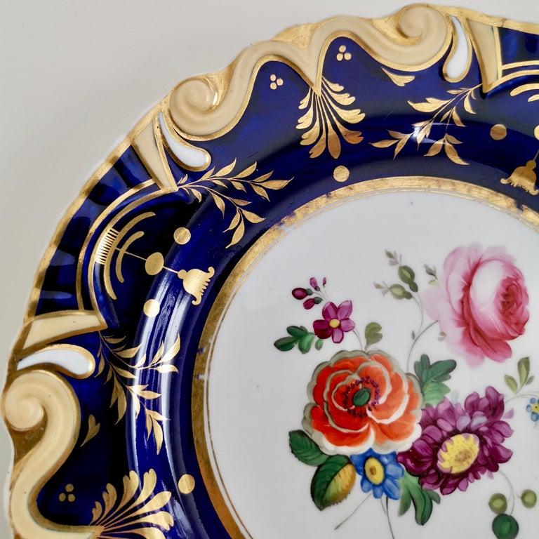 Hand-Painted Ridgway Porcelain Plate, Cobalt Blue, Gilt, Flowers, Moustache, Regency For Sale