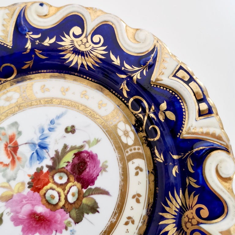 Ridgway Porcelain Plate, Cobalt Blue, Gilt, Flowers, Moustache, Regency In Good Condition In London, GB