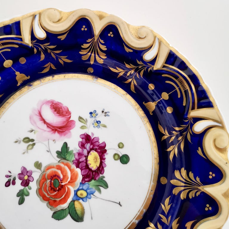 Ridgway Porcelain Plate, Cobalt Blue, Gilt, Flowers, Moustache, Regency In Good Condition For Sale In London, GB