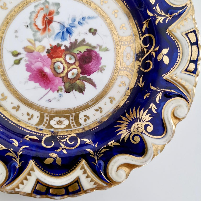 Early 19th Century Ridgway Porcelain Plate, Cobalt Blue, Gilt, Flowers, Moustache, Regency