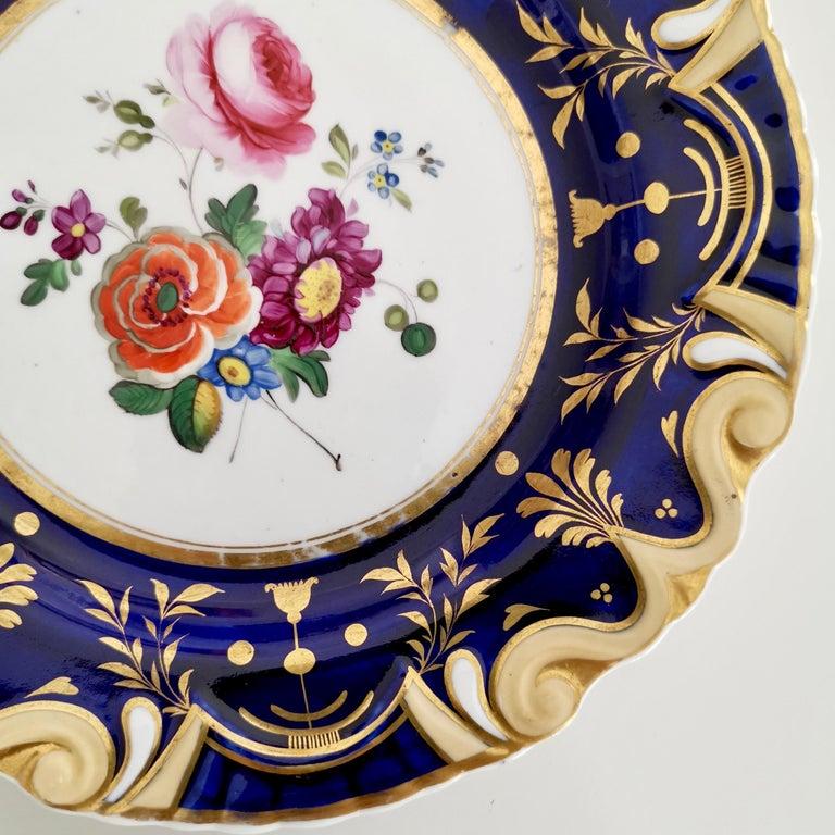 Early 19th Century Ridgway Porcelain Plate, Cobalt Blue, Gilt, Flowers, Moustache, Regency For Sale