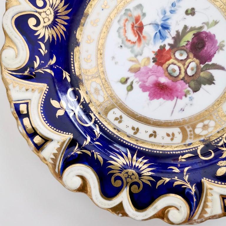 Ridgway Porcelain Plate, Cobalt Blue, Gilt, Flowers, Moustache, Regency 1