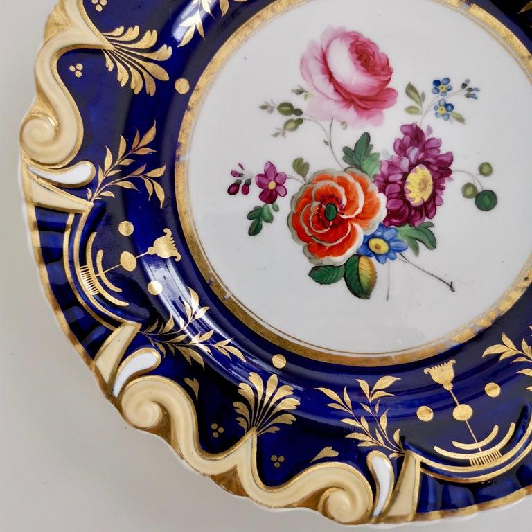 Ridgway Porcelain Plate, Cobalt Blue, Gilt, Flowers, Moustache, Regency For Sale 1
