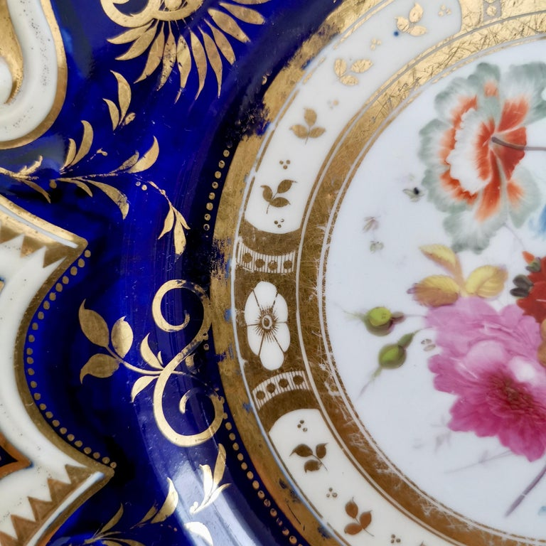 Ridgway Porcelain Plate, Cobalt Blue, Gilt, Flowers, Moustache, Regency 2
