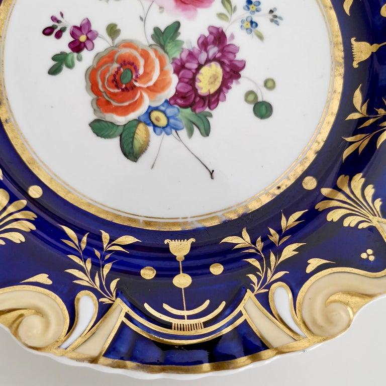 Ridgway Porcelain Plate, Cobalt Blue, Gilt, Flowers, Moustache, Regency For Sale 2
