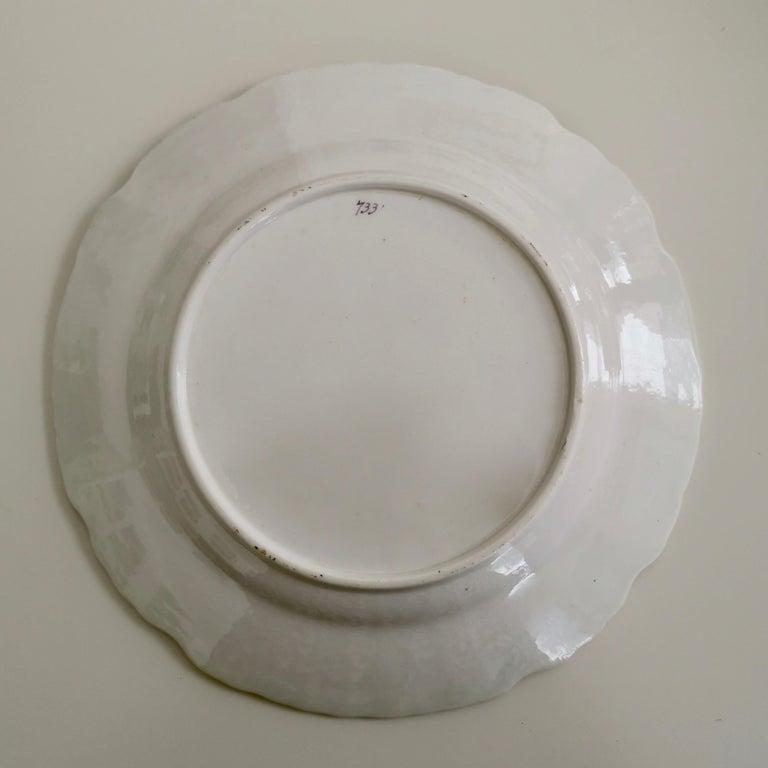 Ridgway Porcelain Plate, Cobalt Blue, Gilt, Flowers, Moustache, Regency For Sale 3