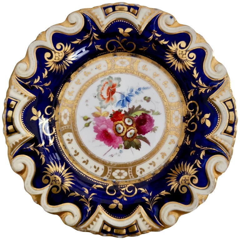 Ridgway Porcelain Plate, Cobalt Blue, Gilt, Flowers, Moustache, Regency