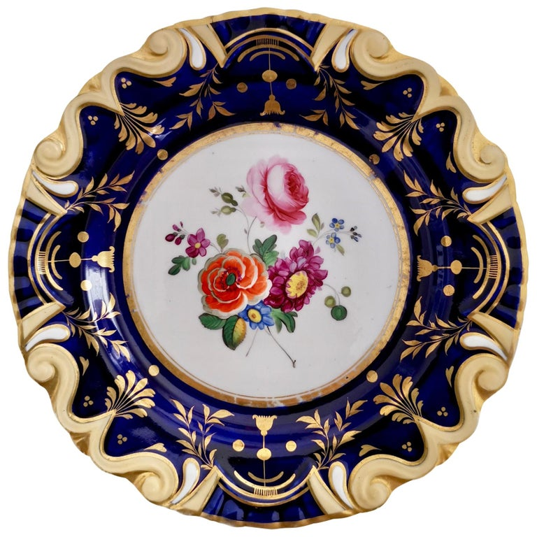 Ridgway Porcelain Plate, Cobalt Blue, Gilt, Flowers, Moustache, Regency For Sale
