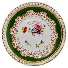 Ridgway Porcelain Plate, Green with Hand Painted Flowers, Regency ca 1825