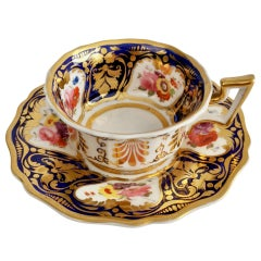 Ridgway Porcelain Teacup, Cobalt Blue, Gilt and Flowers, Regency ca 1825