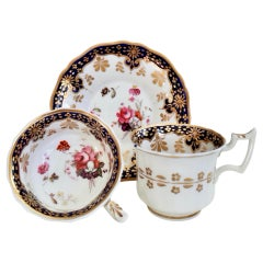 Ridgway Porcelain Teacup Trio, Cobalt Blue, Gilt and Flowers, Regency circa 1825