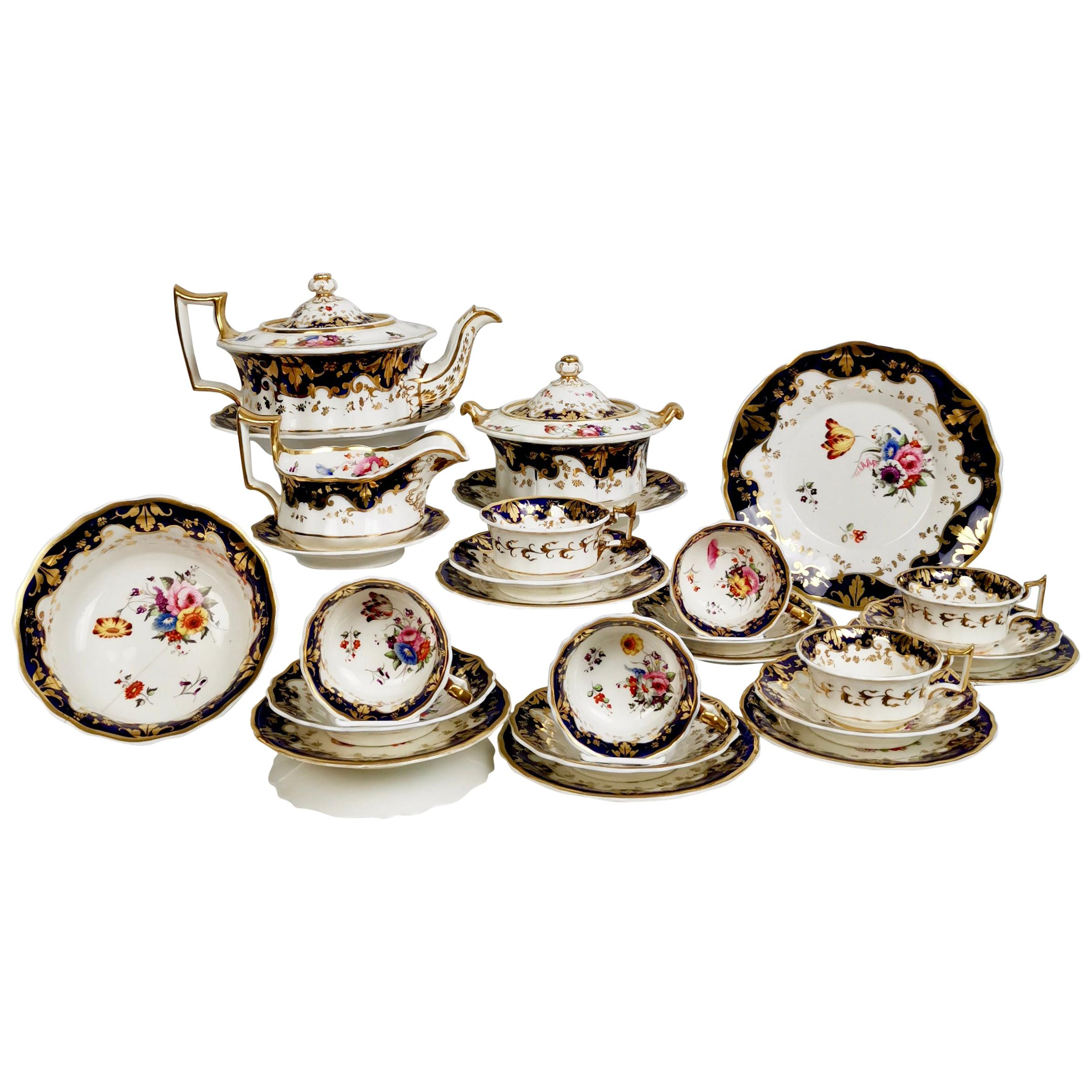 Ridgway Porcelain Tea Service, Flowers on Cobalt Blue and Gilt, Regency ca 1825