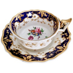 Ridgway Porcelain Teacup, Cobalt Blue, Gilt and Flowers, Regency 1820-1825