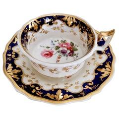 Porcelain Teacup by Ridgway, Gilt, Cobalt Blue and Flowers, Regency 1820-1825