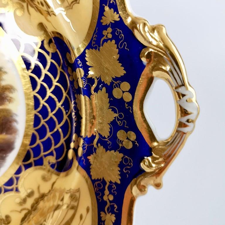 Ridgway Twin-Handled Porcelain Plate, Cobalt Blue, Gilt and Landscape circa 1825 For Sale 3