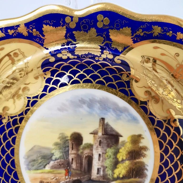 Ridgway Twin-Handled Porcelain Plate, Cobalt Blue, Gilt and Landscape circa 1825 For Sale 4
