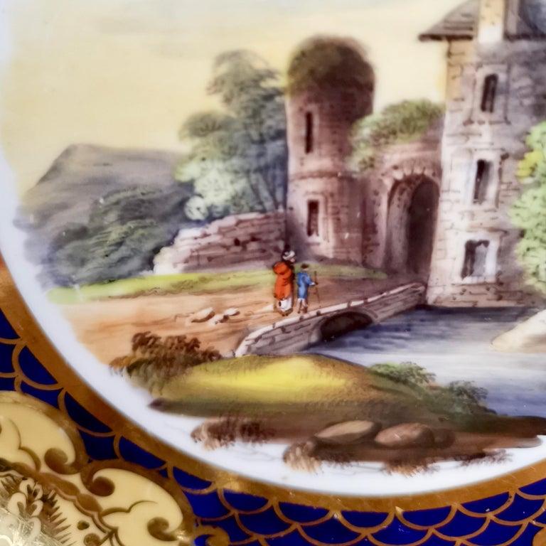 Ridgway Twin-Handled Porcelain Plate, Cobalt Blue, Gilt and Landscape circa 1825 For Sale 5