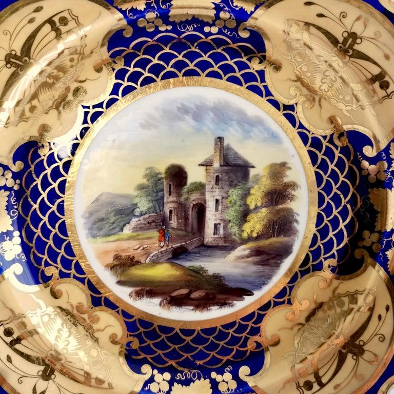 Regency Ridgway Twin-Handled Porcelain Plate, Cobalt Blue, Gilt and Landscape circa 1825 For Sale