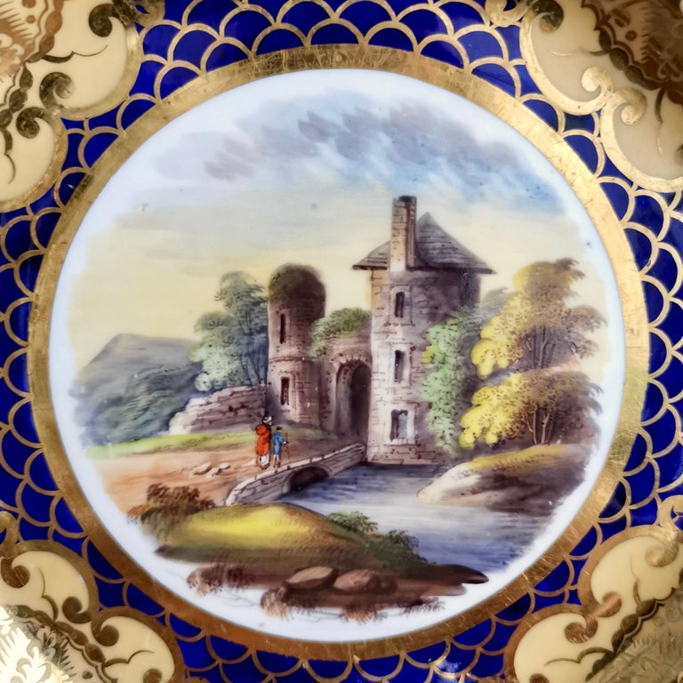 English Ridgway Twin-Handled Porcelain Plate, Cobalt Blue, Gilt and Landscape circa 1825 For Sale