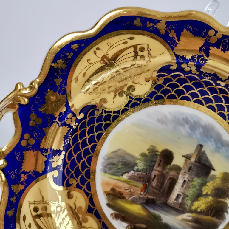 Hand-Painted Ridgway Twin-Handled Porcelain Plate, Cobalt Blue, Gilt and Landscape circa 1825 For Sale