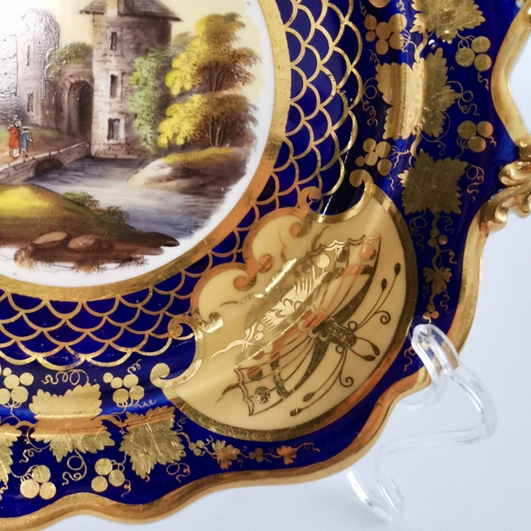 Early 19th Century Ridgway Twin-Handled Porcelain Plate, Cobalt Blue, Gilt and Landscape circa 1825 For Sale