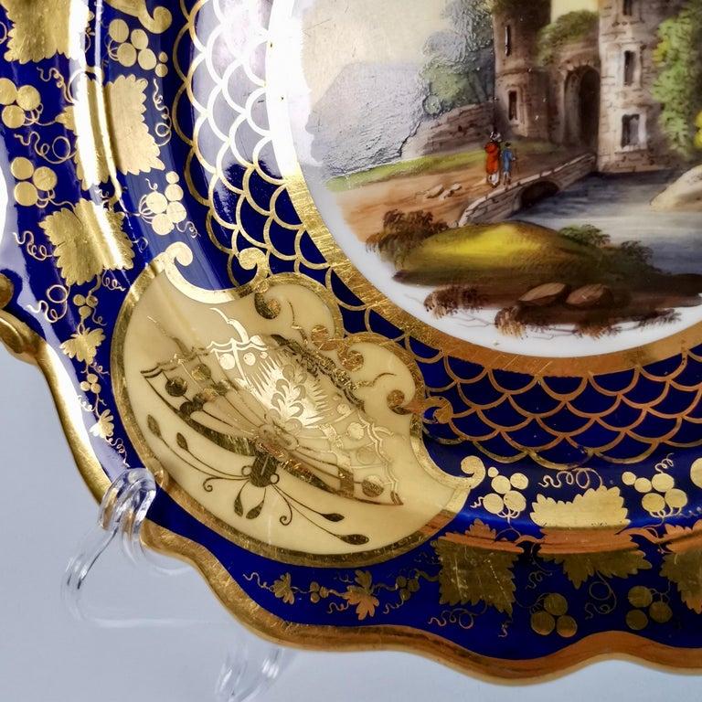 Ridgway Twin-Handled Porcelain Plate, Cobalt Blue, Gilt and Landscape circa 1825 For Sale 1