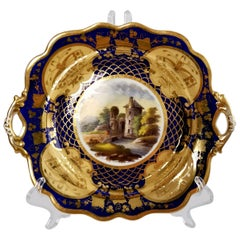 Ridgway Twin-Handled Porcelain Plate, Cobalt Blue, Gilt and Landscape circa 1825