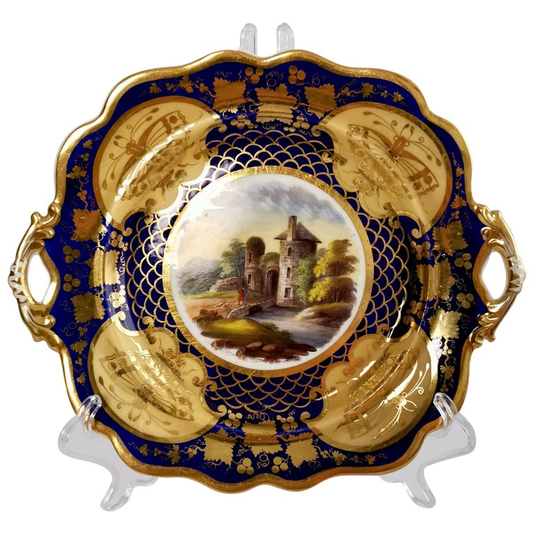 Ridgway Twin-Handled Porcelain Plate, Cobalt Blue, Gilt and Landscape circa 1825 For Sale