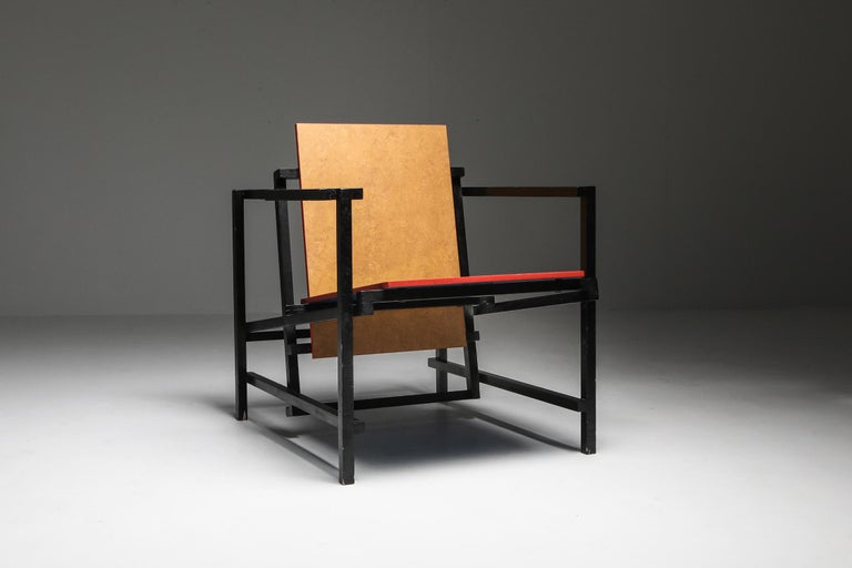 Rietveld style modernist armchair, Dutch, 1970s  Designer study and interpretation of Gerrit Rietveld's famous red and blue chair. Love these unusual vintage hommage pieces.