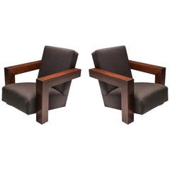 Rietveld's Utrecht Chair with a Wooden Frame, a Pair