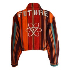 Rifat Ozbek 'Future' Embroidered & Appliqued Ethnic Woven Cotton Jacket, 1990s