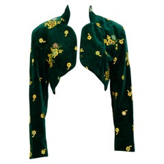 Rifat Ozbek vintage 1980s green velvet embroidered cropped bolero jacket