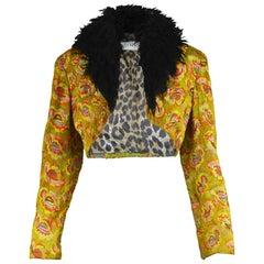 Rifat Ozbek Vintage Embroidered Shaggy Faux Fur Collar Bolero Jacket, 1990s