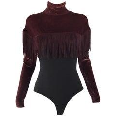 Rifat Ozbek Vintage Velvet Fringed Bodysuit